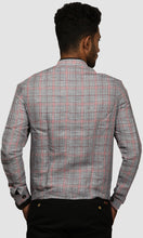 Load image into Gallery viewer, Men Black And Maroon Gingham Checked Linen Jackets