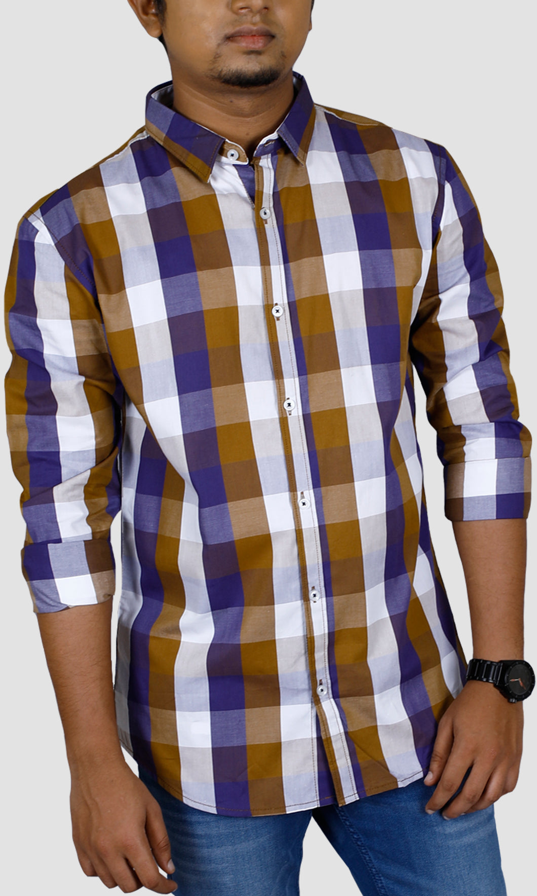 Men Brown Purple Checked Slim Fit Casual Shirts
