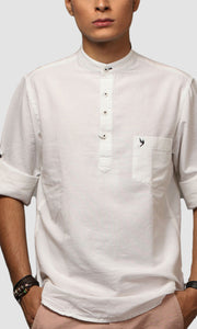 Men White Chinese Collar Cotton Kurta Shirts