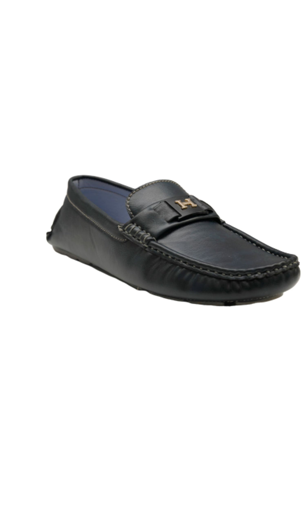 Men Dark Blue Horsebit Loafers
