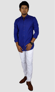 Men Self Design Solid Slim Fit Casual Shirts