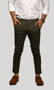 Men Olive Green Ankle Length Chinos