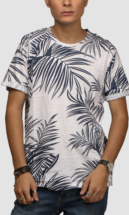 Men White Leaf Printed Cotton Casual T shirts