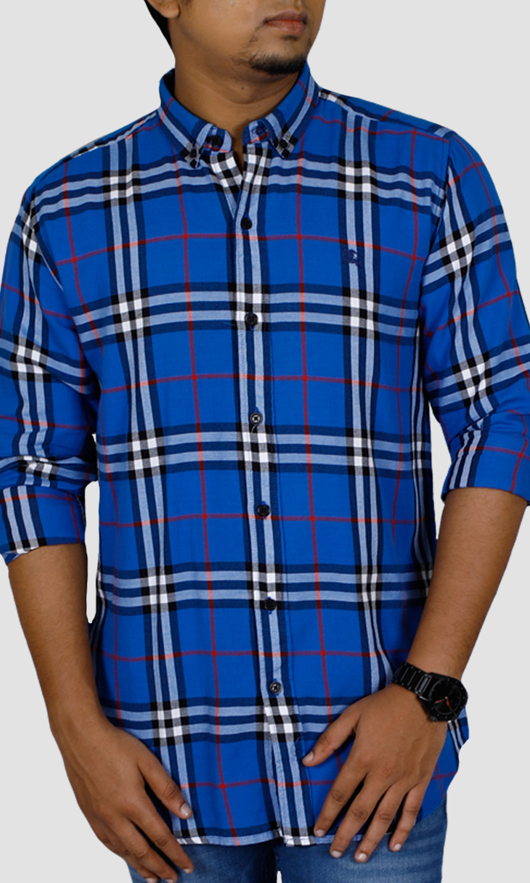 Men Big Checked Slim Fit Casual Shirts