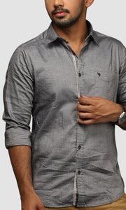Men Grey Linen Slim Fit Casual Shirts