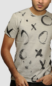 Men Grey XO Graphic Printed Cotton Casual T shirts