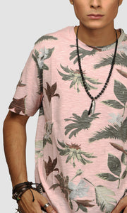 Men Faded Salmon Flora Printed Cotton Casual T shirts