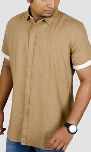 Men Beige Half Sleeve Slim Fit Casual Shirts