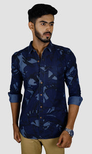 Men Dark Blue Denim Slim Fit Casual Shirts
