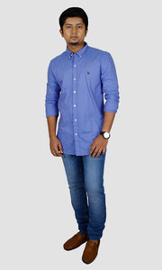 Men Solid Blue Slim Fit Casual Shirts