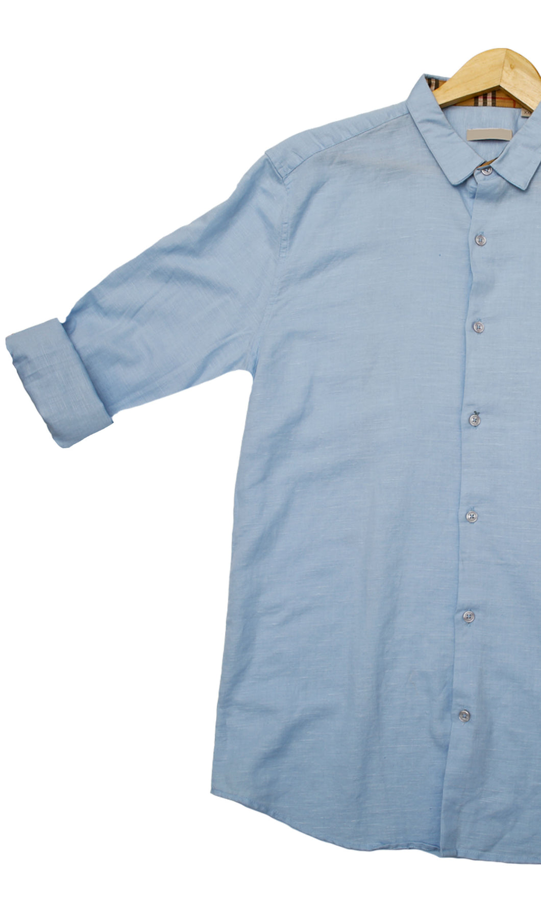 Men Sky Blue Solid Slim Fit Casual Shirts