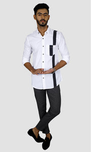 Men One Side Stripe Slim Fit Casual Shirts