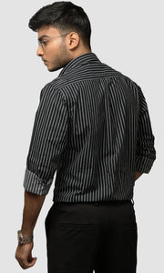 Men Black with White Striped Cotton Casual Shirts