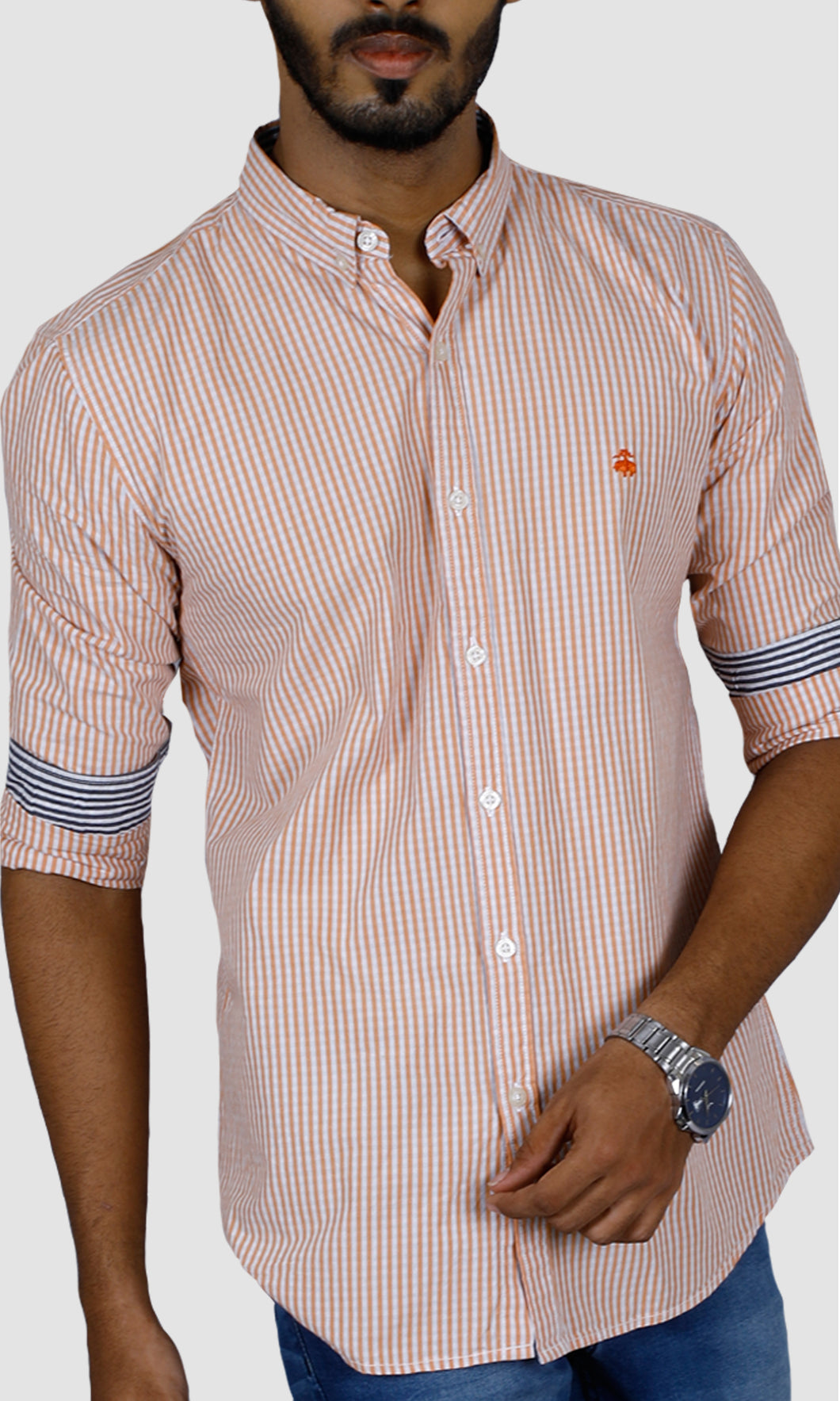 Men Striped Cotton Slim Fit Casual Shirts
