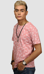 Men Salmon Leaf Printed Cotton Casual T shirts