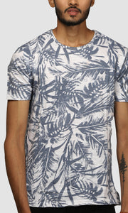 Men White Clustered Leaf Printed Cotton Casual T shirts
