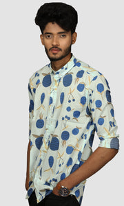 Men Faded Green Printed Cotton Slim Fit Casual Shirts