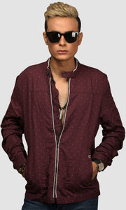 Men Dark Maroon Polka Dots Linen Jackets