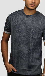 Men Dark Grey Clustered Leaf Printed Cotton Casual T shirts