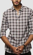 Load image into Gallery viewer, Men Brown Jacquard Checked Cotton Casual Shirts