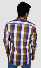 Load image into Gallery viewer, Men Brown Purple Checked Slim Fit Casual Shirts