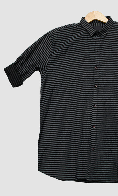Men Black Grey Stripped Slim Fit Casual Shirts