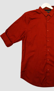 Men Brick Red Solid Slim Fit Casual Shirts