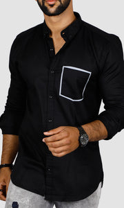 Men Pocket Design Slim Fit Casual Shirts