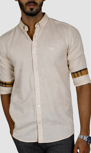 Men Solid Linen Slim Fit Casual Shirts