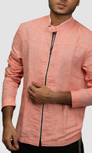 Load image into Gallery viewer, Men Solid Orange Linen Jackets