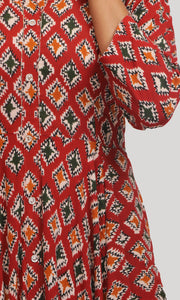 Red with multi colored block prints Kurti