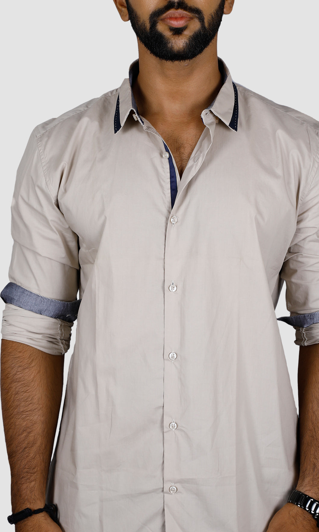 Men Collar Strap Solid Slim Fit Casual Shirts