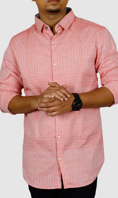 Men Geometric Pattern Slim Fit Casual Shirts.