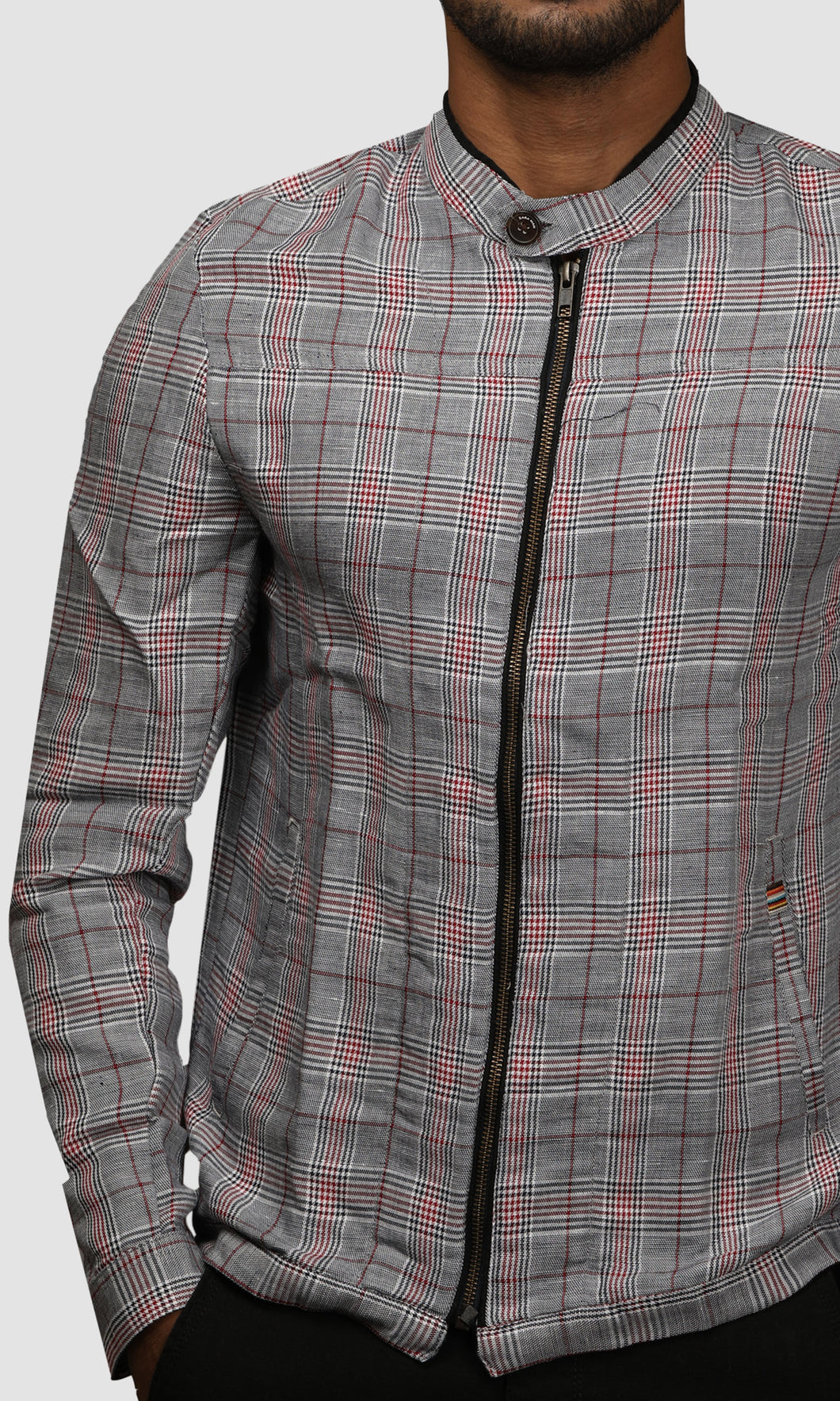 Men Black And Maroon Gingham Checked Linen Jackets