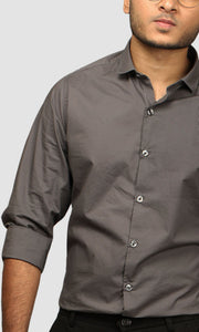 Men Dark Grey Partial Striped Cotton Casual Shirts