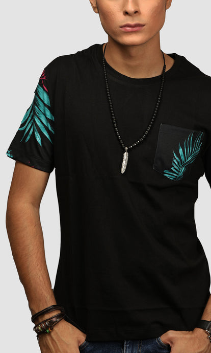 Men Black Leaf Printed Cotton Casual T shirts