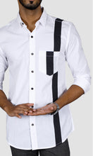 Load image into Gallery viewer, Men One Side Stripe Slim Fit Casual Shirts