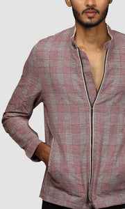 Men Maroon and White Gingham Checked Linen Jackets