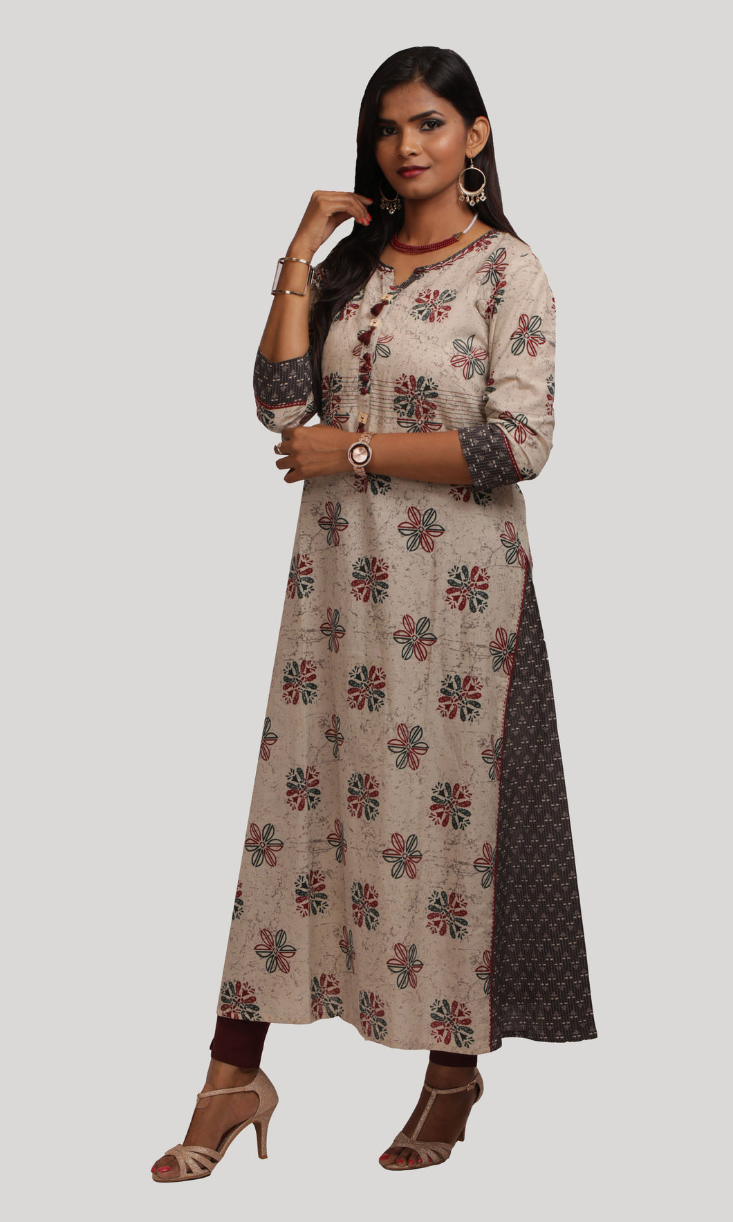 Grey Printed Daily Wear Kurti