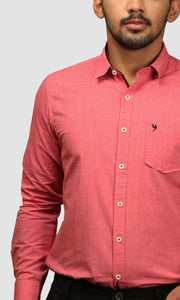 Men Shaded Red Cotton Slim Fit Casual Shirts