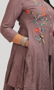 Women Shaded Purple Kurti With Palazzos Set