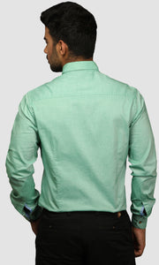 Men Green Cotton Slim Fit Casual Shirts