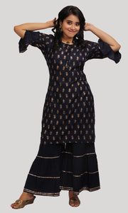 Navy Blue Daily Wear Kurti Set