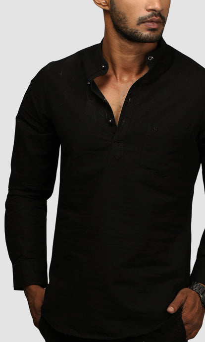 Men Black Chinese Collar Cotton Kurta Shirts