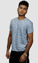 Load image into Gallery viewer, Men Sky Blue Leaf Printed Cotton Casual T shirt