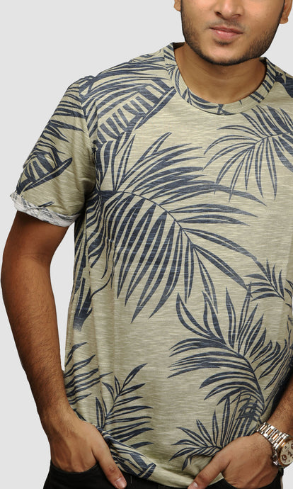 Men Faded Green Leaf Printed Cotton Casual T shirts