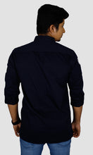 Load image into Gallery viewer, Men Sleeves Patch Solid Slim Fit Casual Shirts