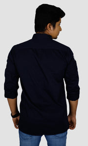 Men Sleeves Patch Solid Slim Fit Casual Shirts