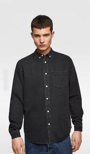 Men Solid Denim Casual Shirts