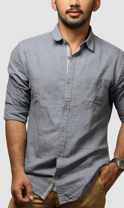 Men Blue Linen Slim Fit Casuals Shirts
